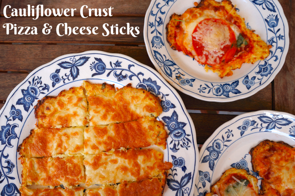 Cauliflower Crust Pizza and Cheese Sticks