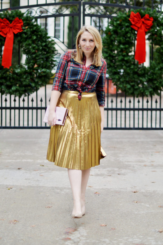 Gold Skirt Holiday Outfit 1