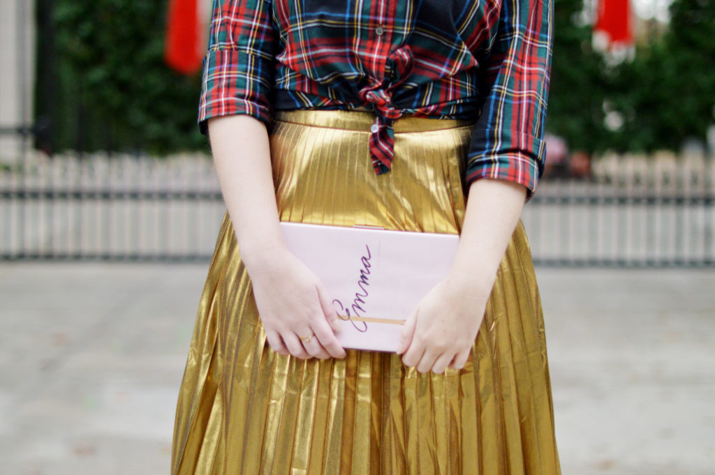 Gold Skirt Holiday Outfit 3