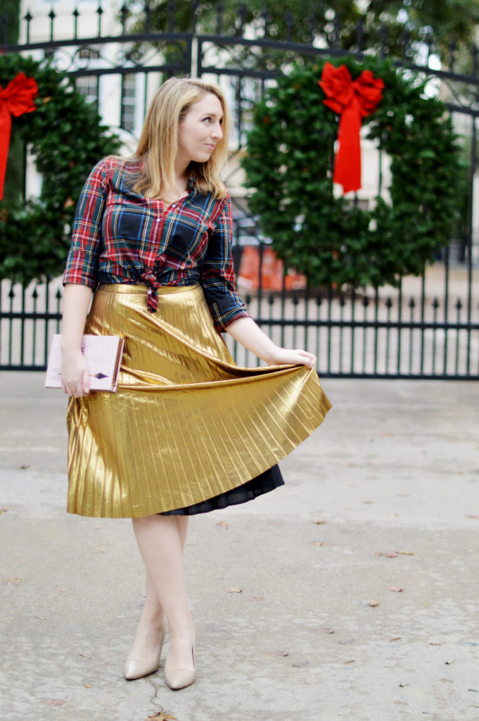 Gold Skirt Holiday Outfit 4