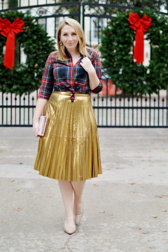 Gold Skirt Holiday Outfit 6