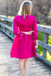 What to Wear to an Office Holiday Party, Pink Bow Sleeve Dress
