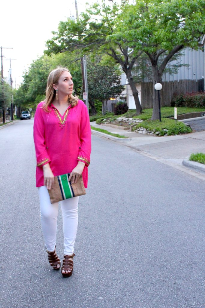 Prints Make Perfect, pink tunic, pink coverup, Barbara Gerwit top, walking