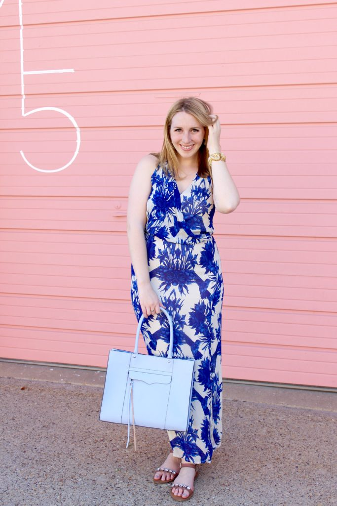 A Blue and White Floral Maxi Dress Perfect for Graduation ...