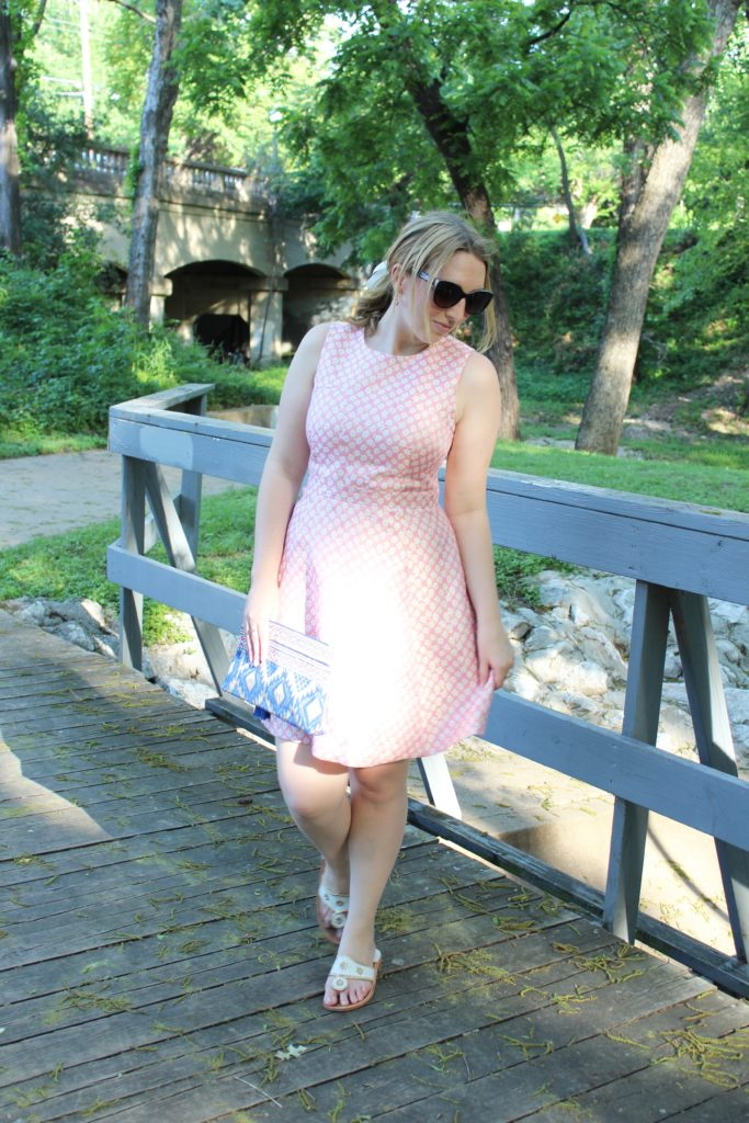 DestinationOasis, Oasis and other brands, Pink Fit and Flare Dress with a Tassel Clutch