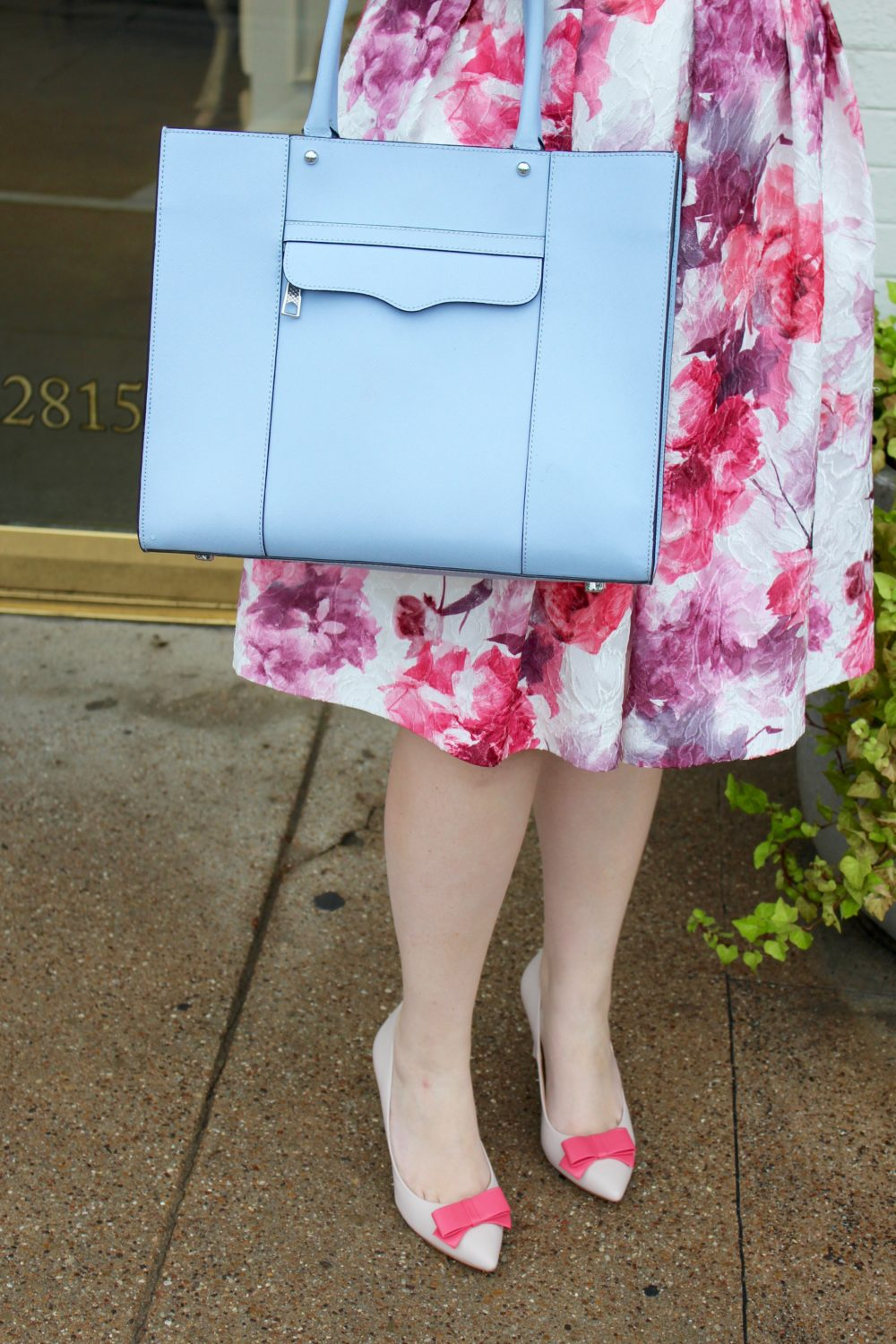 Floral Pink Midi Dress, rent the runway dress, carmen marc valvo 1, rebecca minkoff purse mab tote