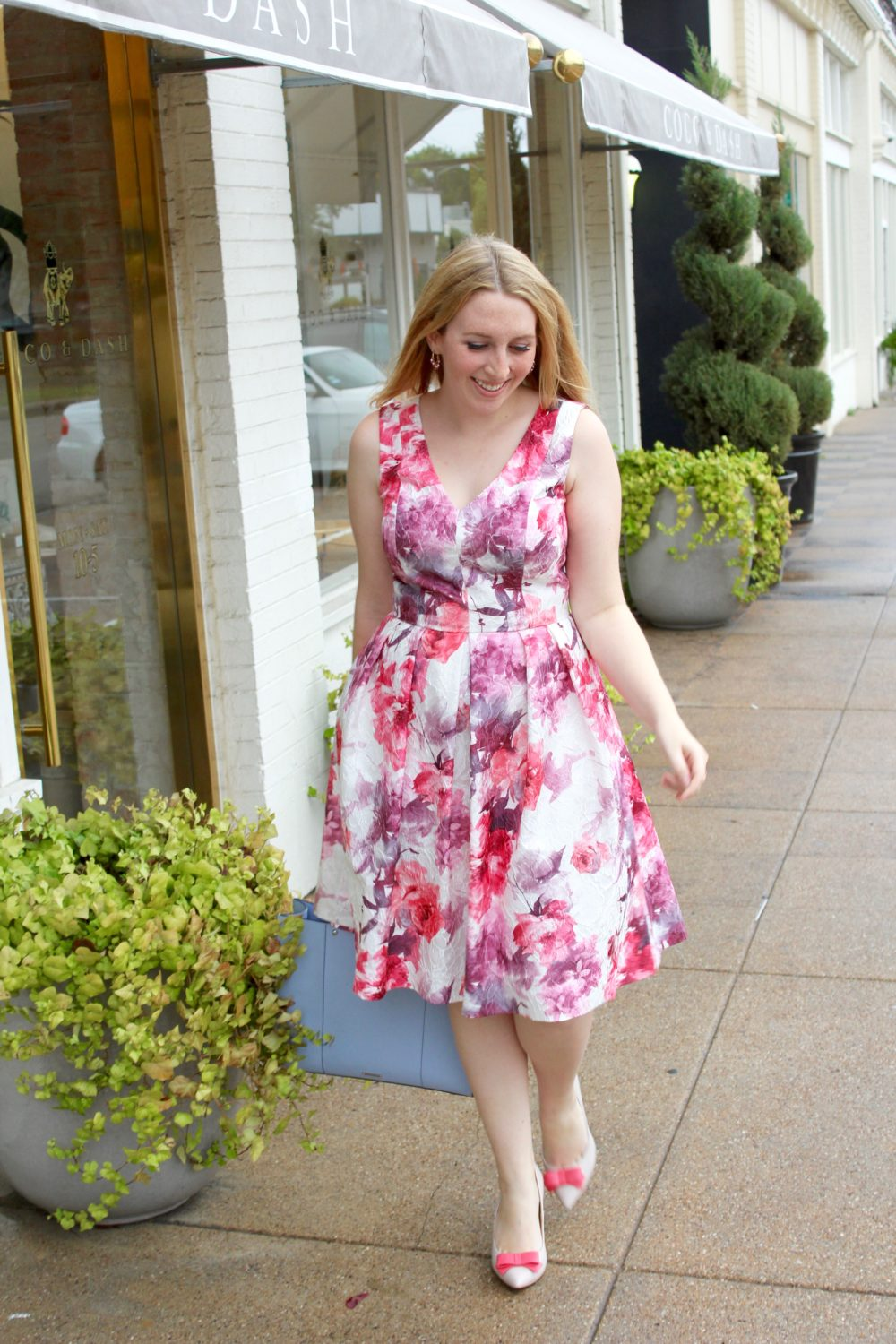 Floral Pink Midi Dress, rent the runway dress, carmen marc valvo 1