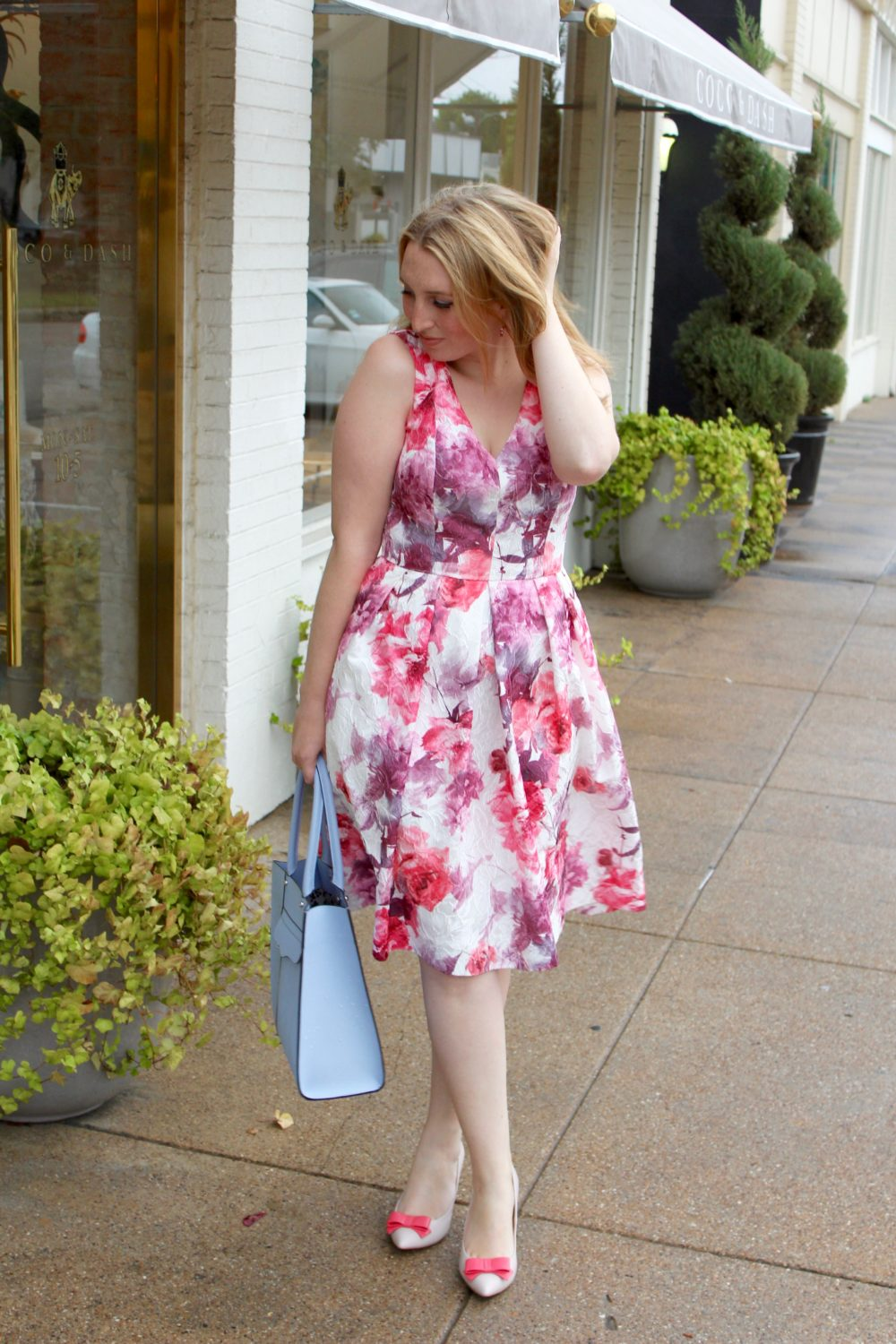Floral Pink Midi Dress, rent the runway dress, carmen marc valvo 2
