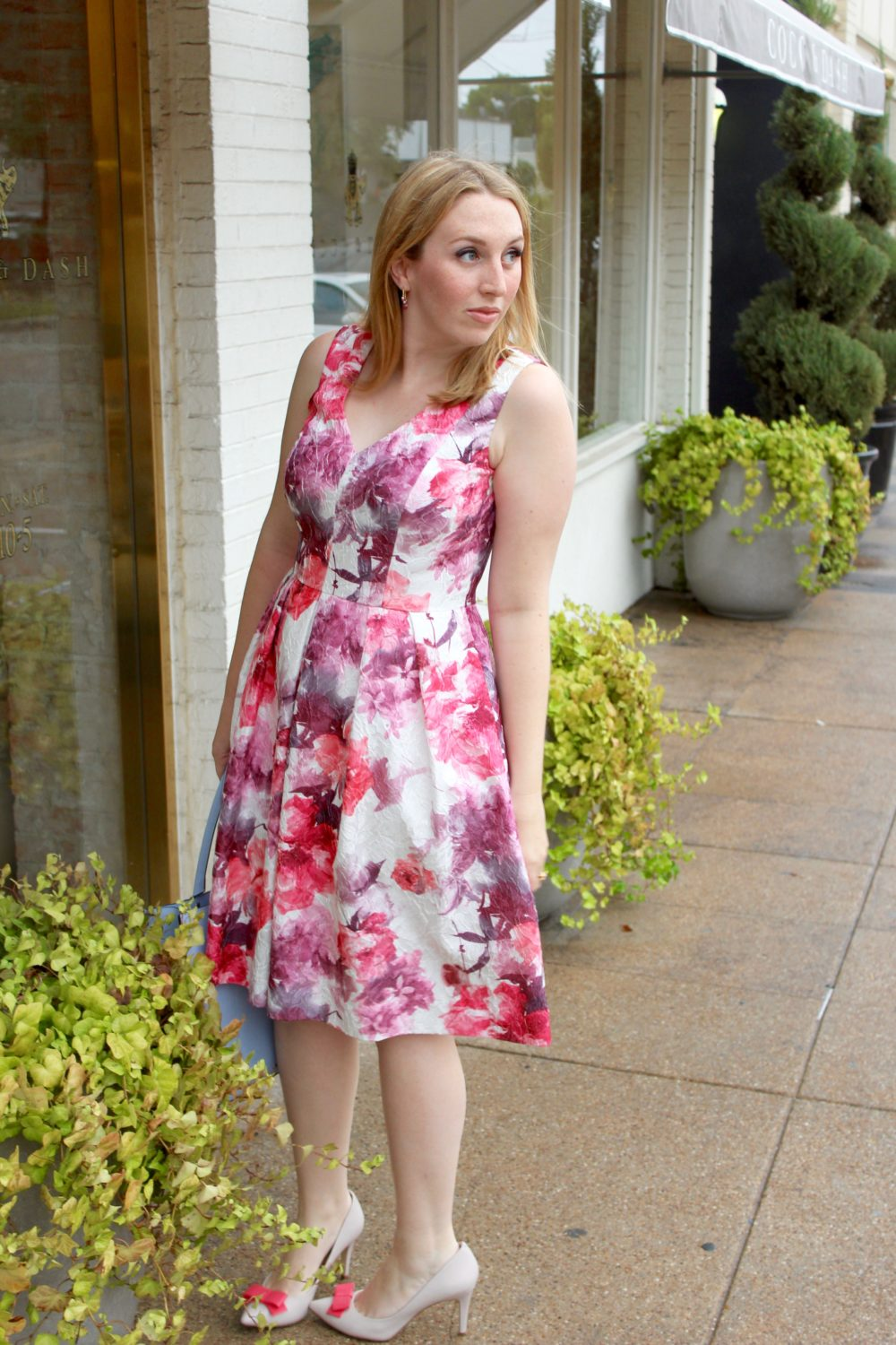 Floral Pink Midi Dress, rent the runway dress