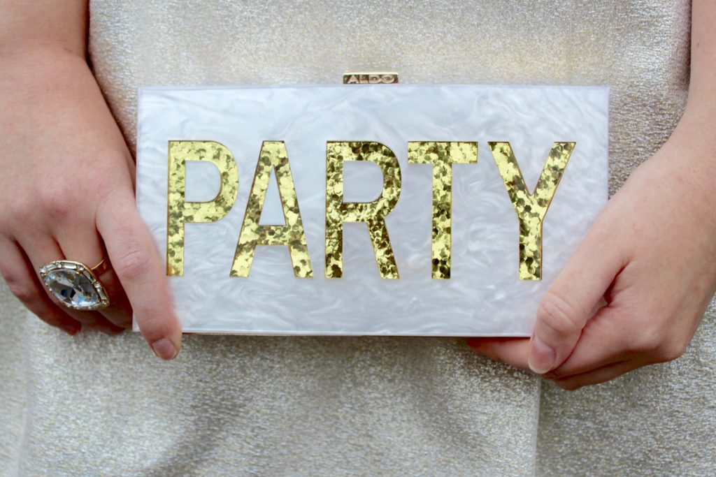 Glittery Birthday Dress (and a 30 Before 30 Update), rent the runway dress, beaded party dress, pamela by pamela rowland cocktail dress, white glittery dress, 3, party glitter clutch, aldo purse