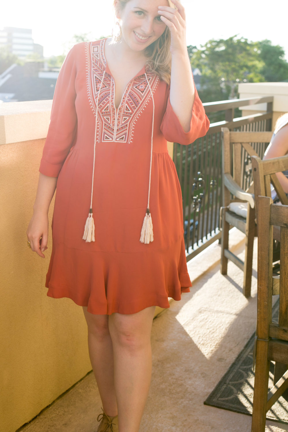 What to Wear to Cinco de Mayo, Twelfth Street by Cynthia Vincent, Orange Sahara Dress, How to dress for Cinco de Mayo full 2