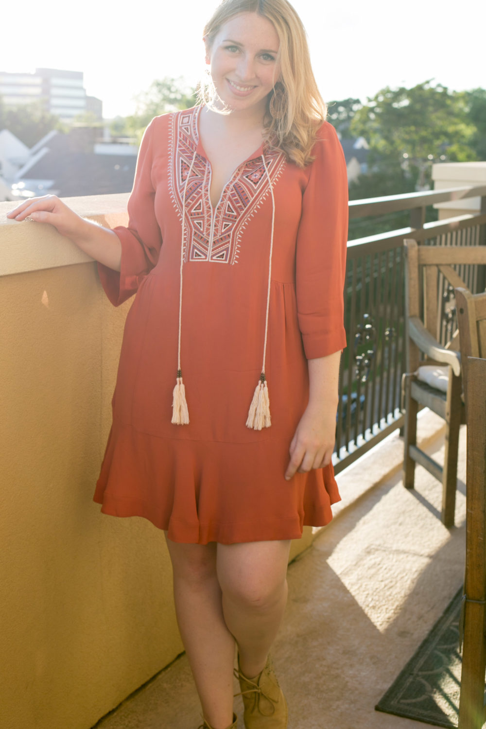 What to Wear to Cinco de Mayo, Twelfth Street by Cynthia Vincent, Orange Sahara Dress, How to dress for Cinco de Mayo full