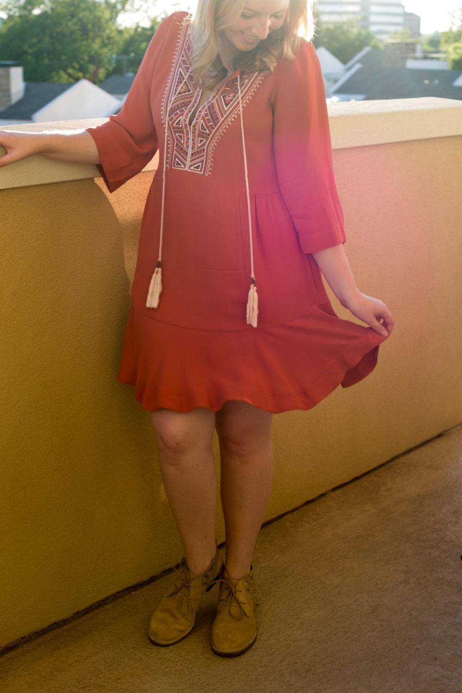What to Wear to Cinco de Mayo, Twelfth Street by Cynthia Vincent, Orange Sahara Dress, How to dress for Cinco de Mayo