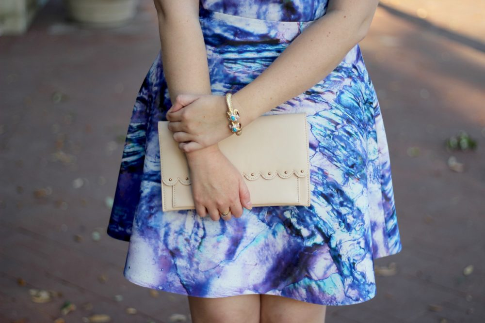 ASOS Scallop Clutch Bag in Nude, Lilly Pulitzer Charge It Rams Head Bracelet