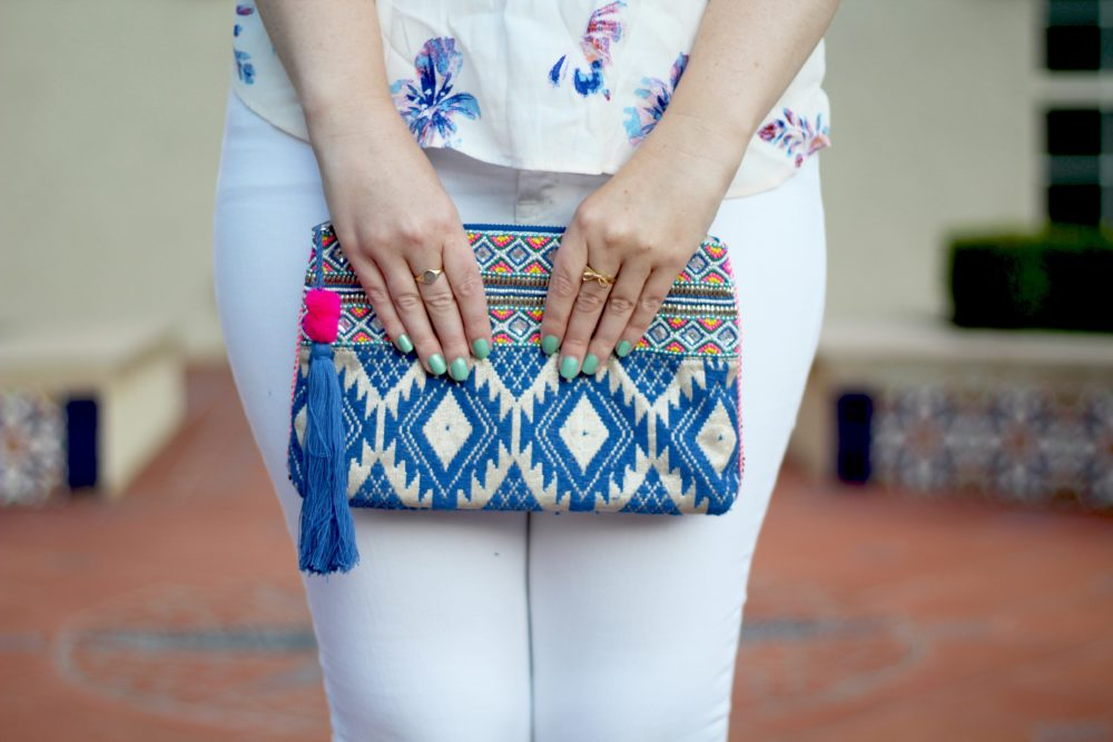 Floral Racerback Blouse, Rent the Runway top, ASTR shirt, sleeveless, j.crew toothpick white denim jeans, oasis clutch purse