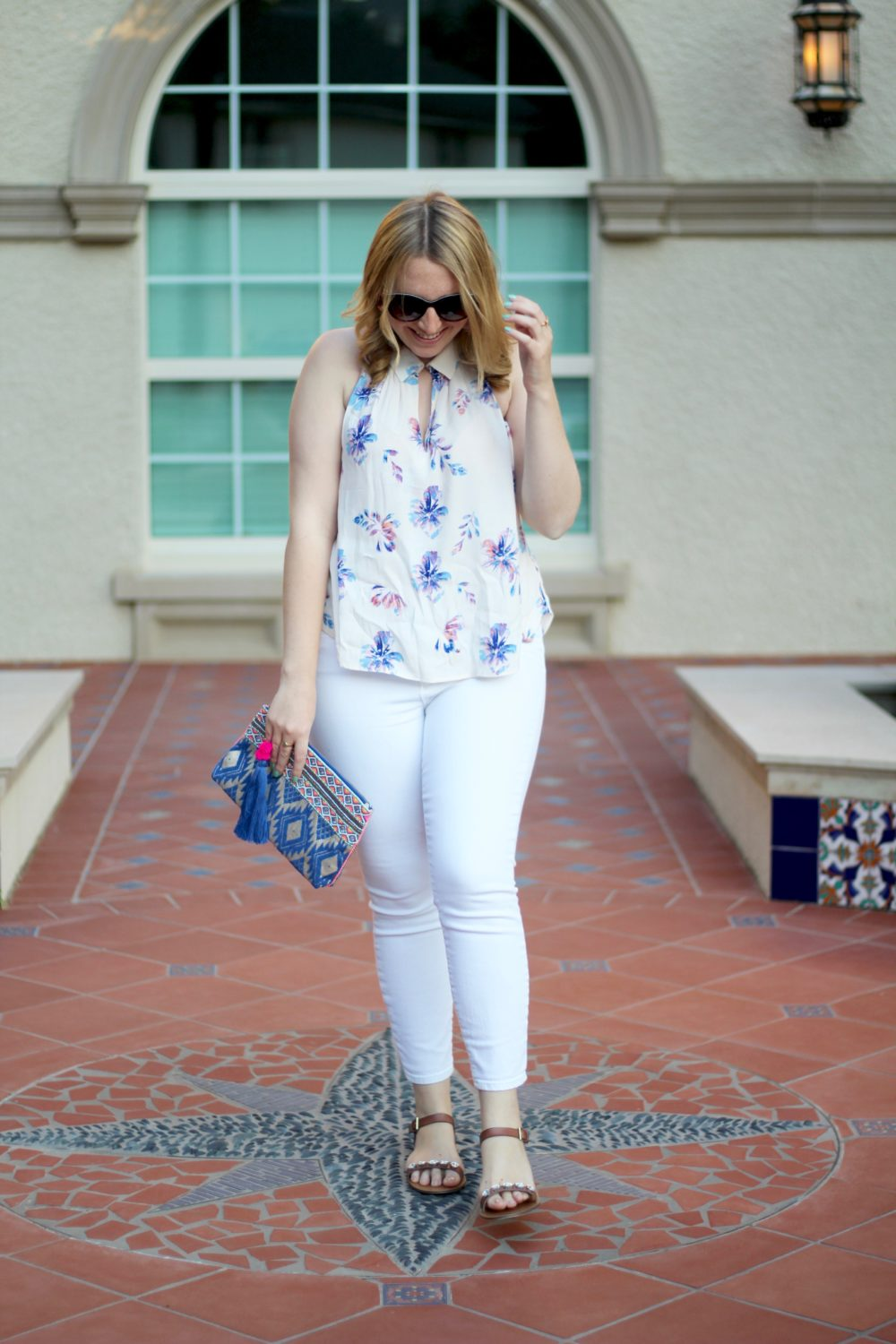 Floral Racerback Blouse, Rent the Runway top, ASTR shirt, sleeveless, j.crew toothpick white denim jeans, oasis clutch