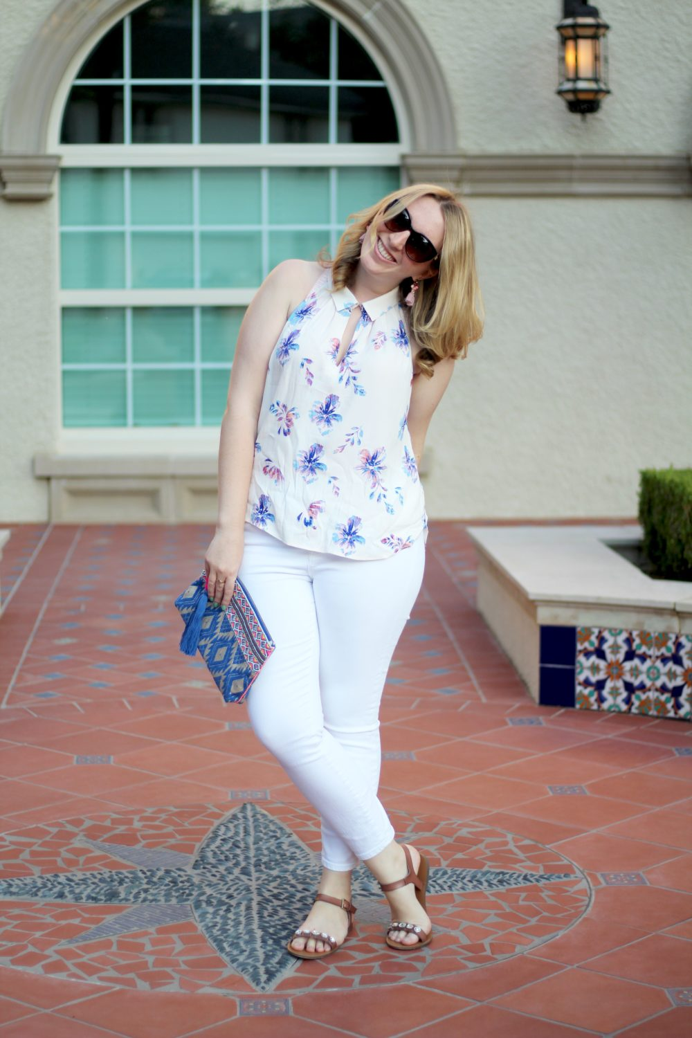 Floral Racerback Blouse, Rent the Runway top, ASTR shirt, sleeveless, j.crew toothpick white denim jeans