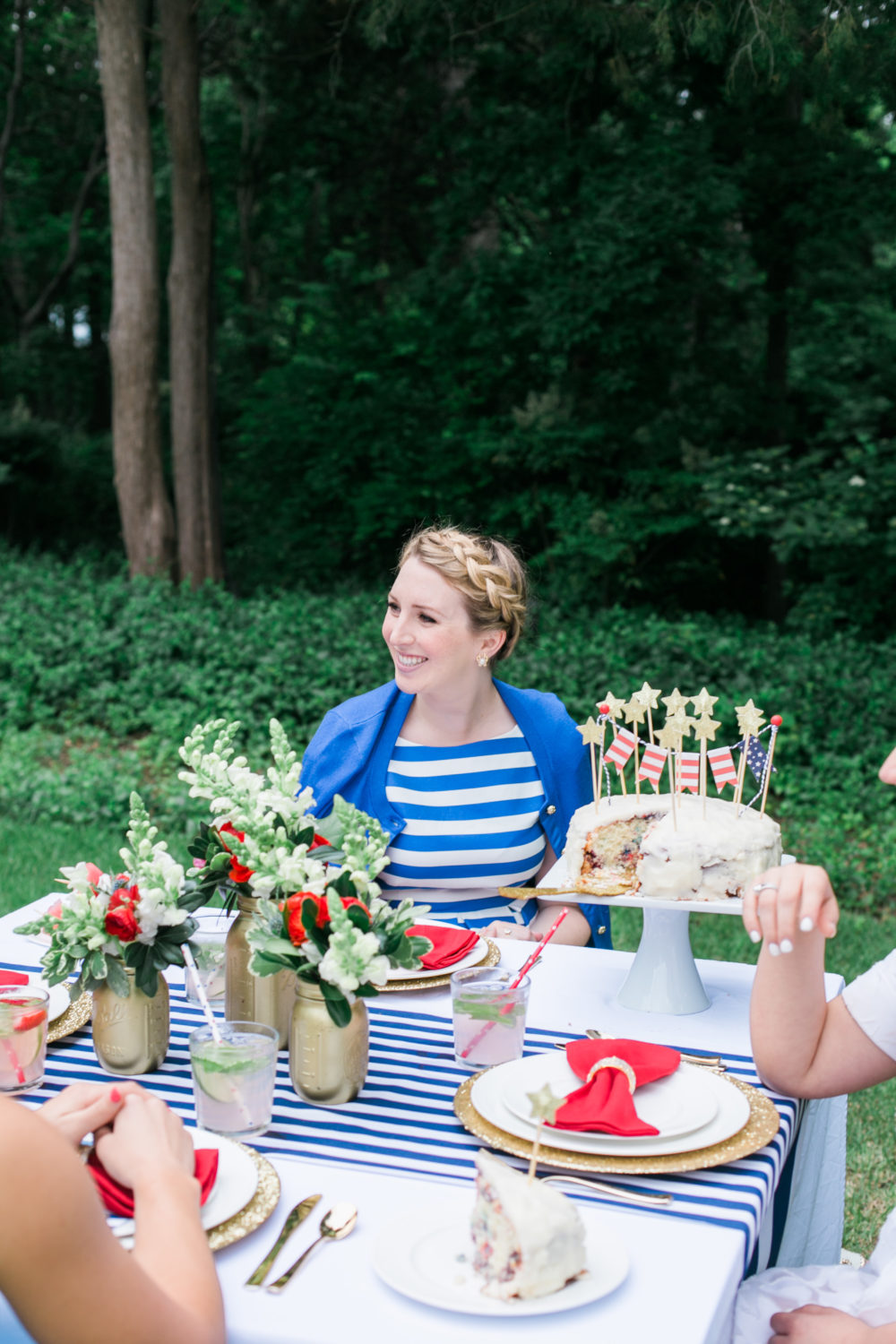 Memorial Day Party Ideas MDW Table, Red White and Blue, Memorial Day Party Theme, Kate Spade Outlet striped dress