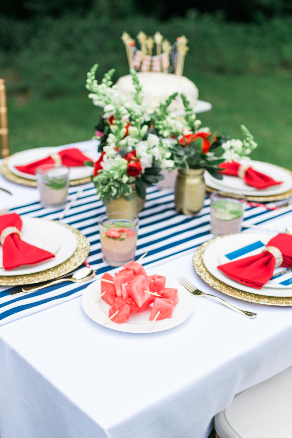 Memorial Day Party Ideas MDW Table, Red White and Blue, Memorial Day Party Theme
