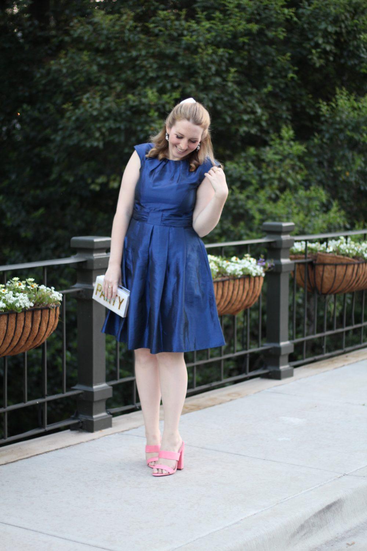 A Navy Dress Perfect to Wear to a Summer Wedding Navy Bow Dress, Chetta B blue dress Last Call Neiman Marcus dallas texas fashion blogger