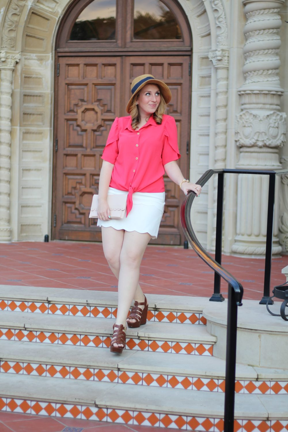 Red Tulip-Sleeve Blouse Rent the Runway unlimited shirt top tie bow, club monaco skirt white scallop trim, tuckernuck bow hat 2