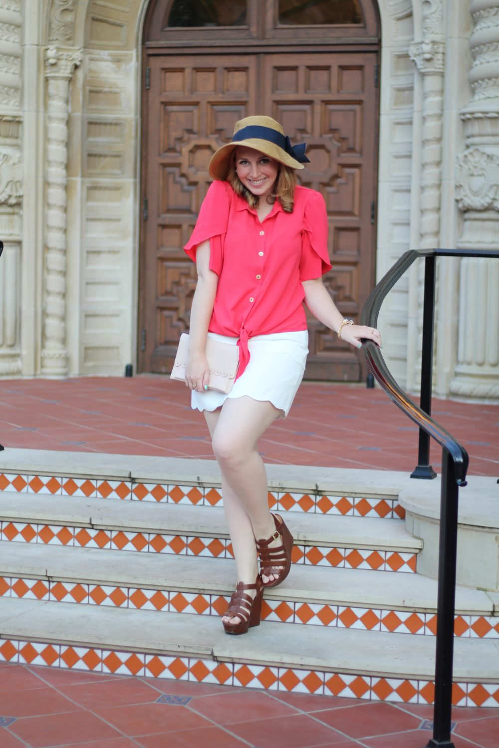 Red Tulip-Sleeve Blouse Rent the Runway unlimited shirt top tie bow, club monaco skirt white scallop trim, tuckernuck bow hat 3