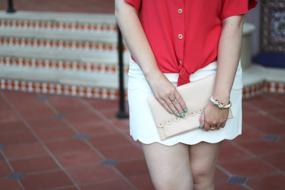 Red Tulip-Sleeve Blouse Rent the Runway unlimited shirt top tie bow, club monaco skirt white scallop trim, tuckernuck bow hat, asos pink scallop purse