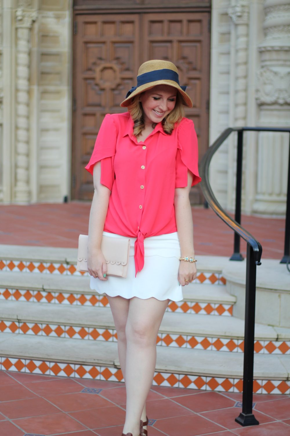Red Tulip-Sleeve Blouse Rent the Runway unlimited shirt top tie bow, club monaco skirt white scallop trim, tuckernuck bow hat