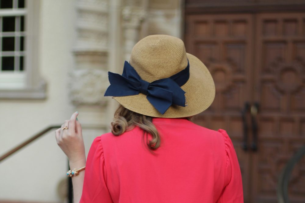 Red Tulip-Sleeve Blouse Rent the Runway unlimited shirt top tie bow, club monaco skirt white scallop trim, tuckernuck navy bow hat