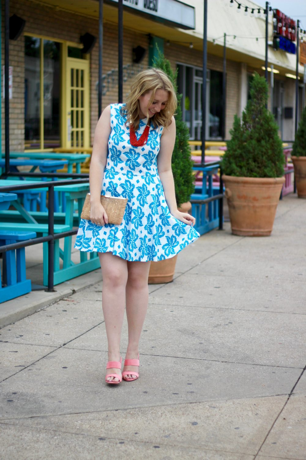 Sleeveless Giant Leaf-Print Fit-and-Flare Dress