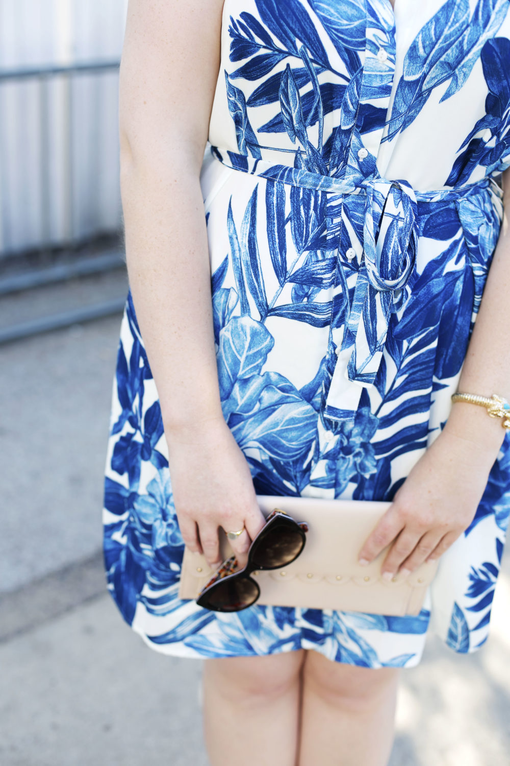 The Perfect Graduation Gift + A Giveaway Last Call Blue Printed Belted Sleeveless Shirtdress, Pale Pink Asos Scallop Clutch Bag