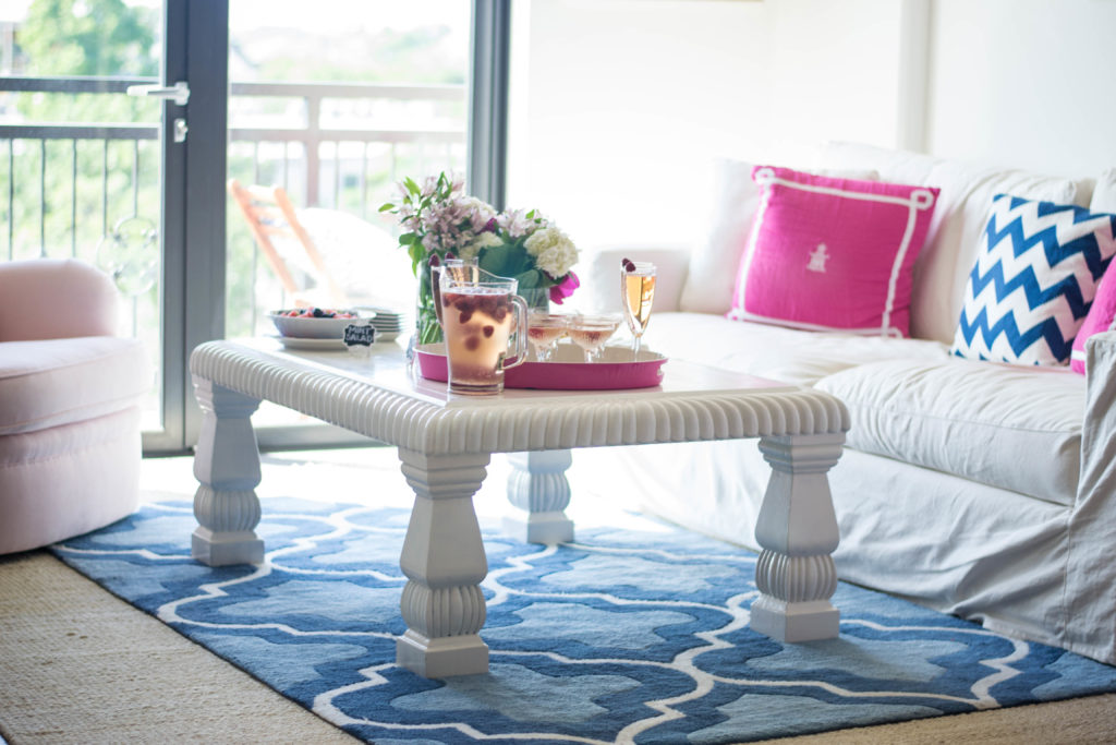 Bloggers Give Back, Nautical Girly Living Room Pink Flowers