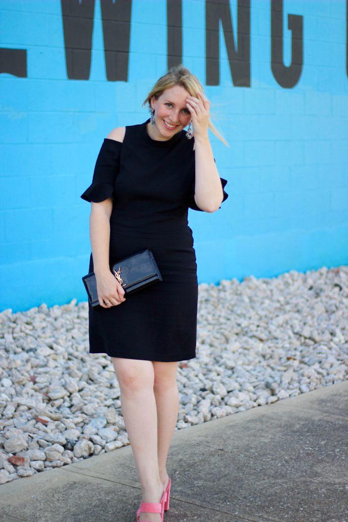 Rent the Runway RTR Rebecca Taylor Black Cold Shoulder Ruffle Dress