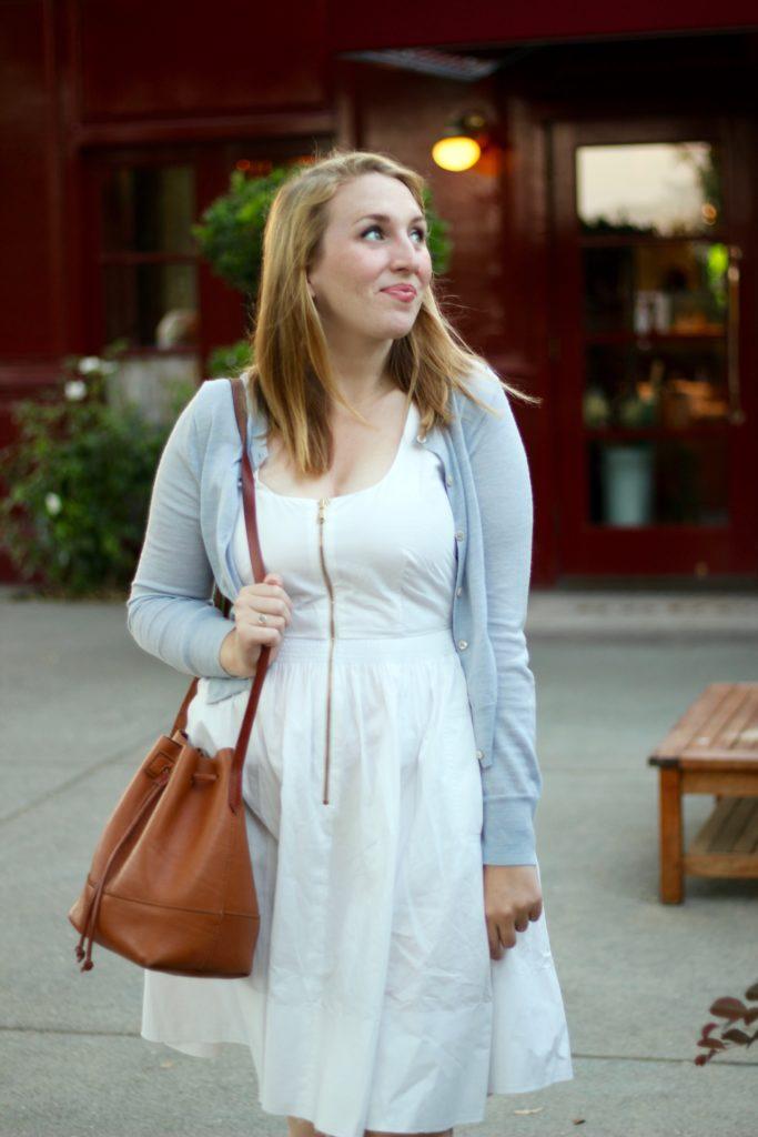 White Zip-Up Dress