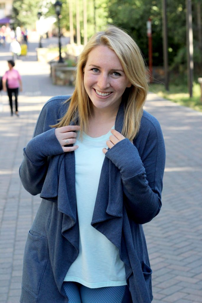 Athleta Studio Wrap in Iron Blue Heather, Blue Wrap Sweater