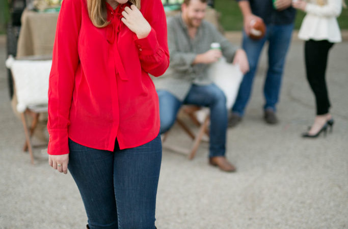 A Red Bow Blouse Ideal for Boulevarding
