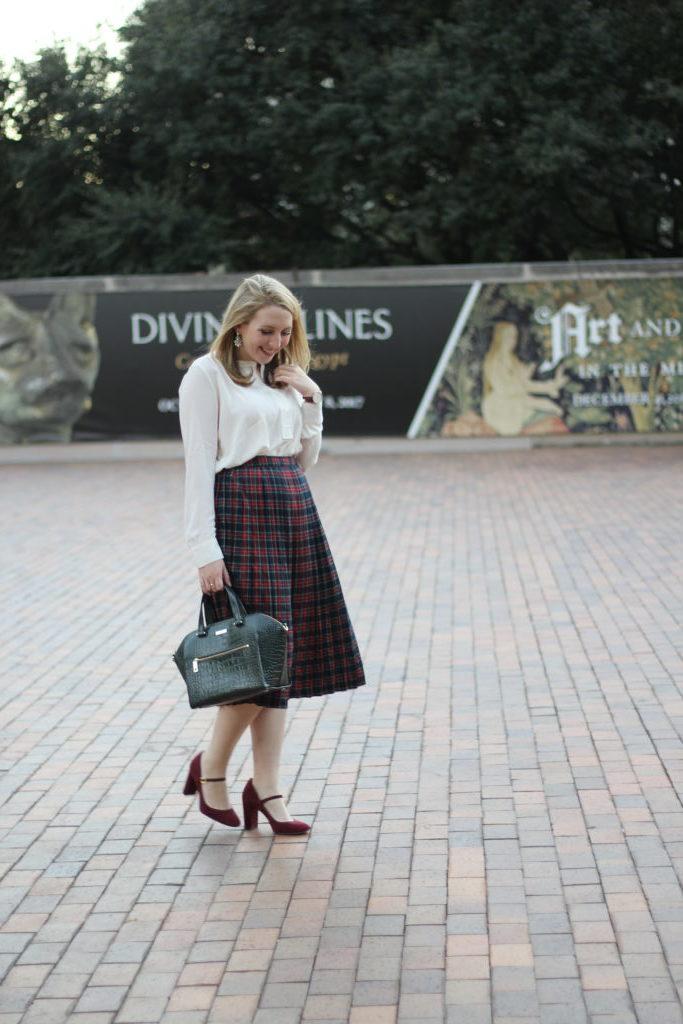 festive plaid skirt