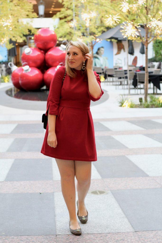 nicole-miller-red-artelier-mock-neck-dress