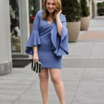 Bell-Sleeved Blue Dress