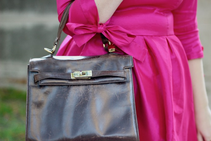 Brown Leather Structured Satchel