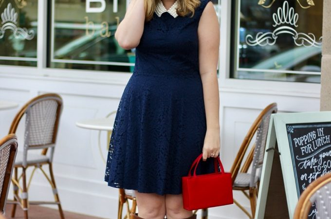 Navy Lace Dress with a Pearl Collar