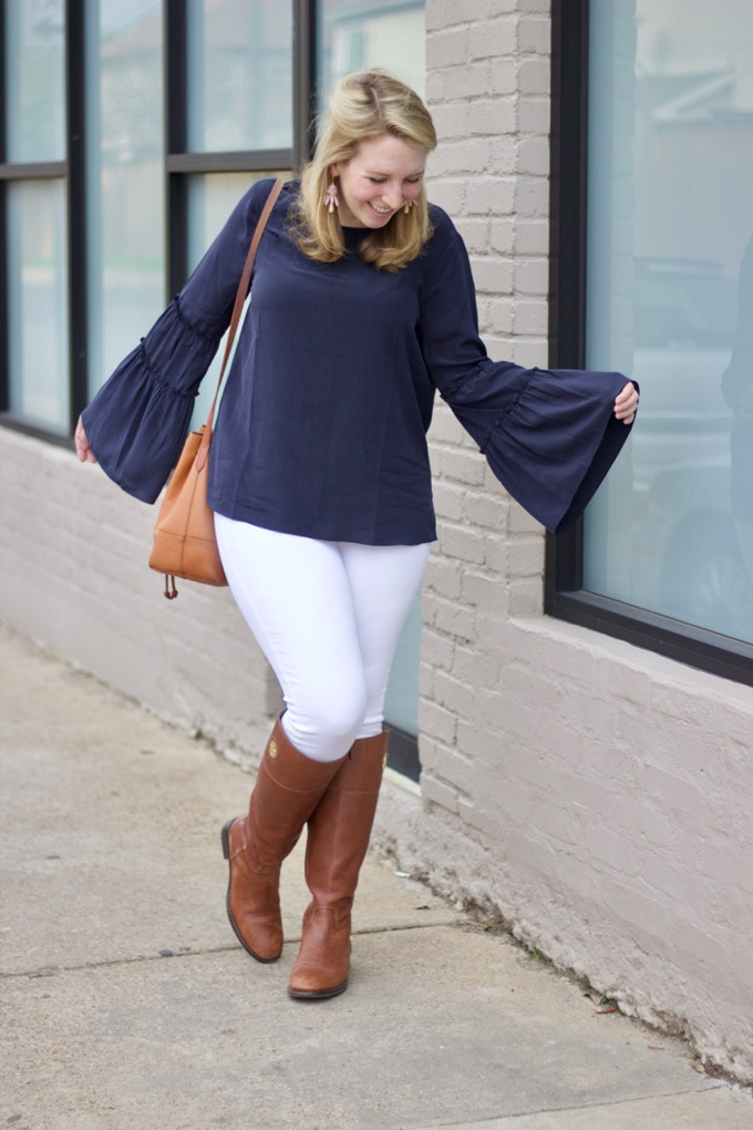 How to style a bell-sleeve blouse