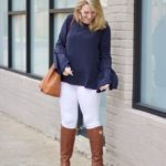 Navy Bell-Sleeve Blouse Under $100