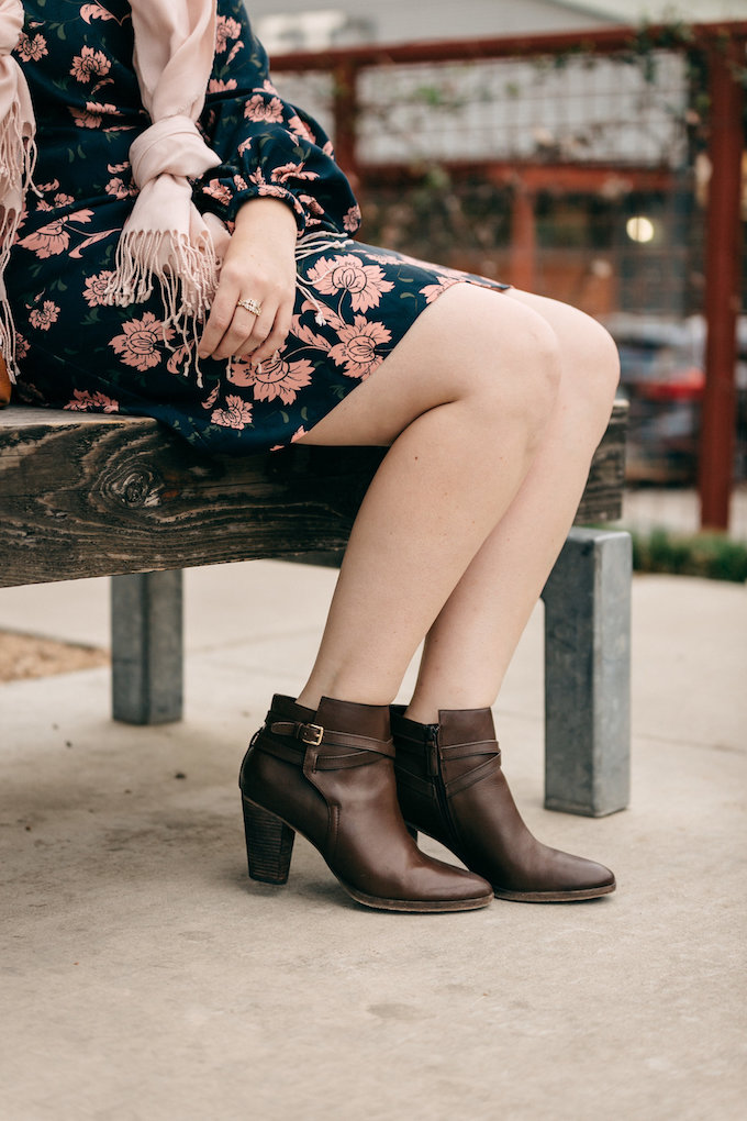 Brown leather booties for spring