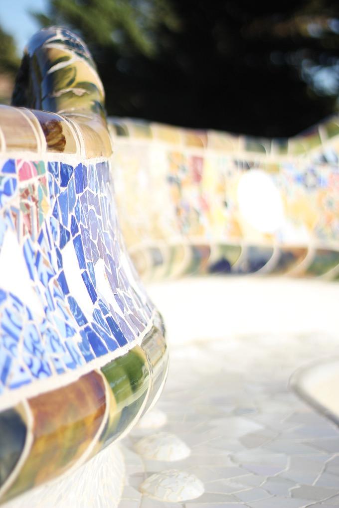 Gaudi Barcelona mosaic work in Park Güell