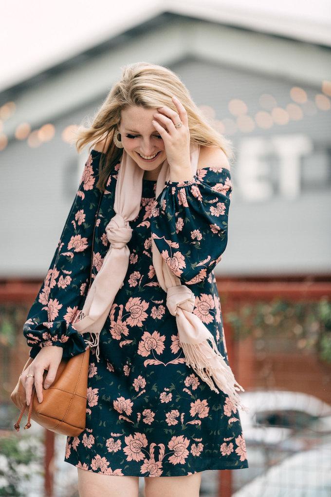 Off-the-Shoulder Navy Floral Dress