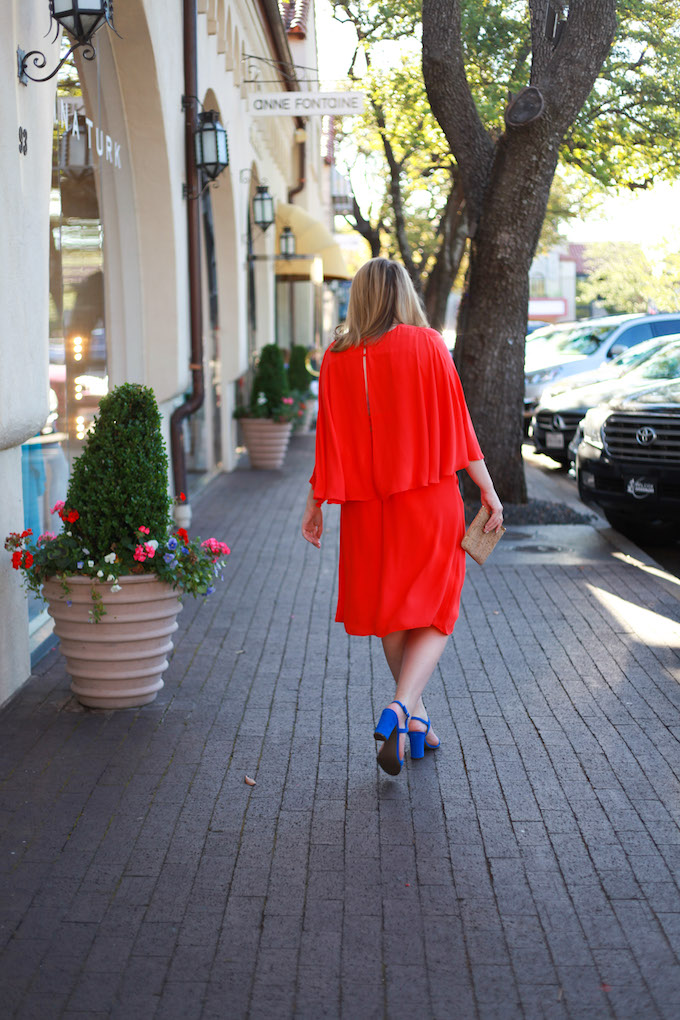 Cape Back Orange Party Dress