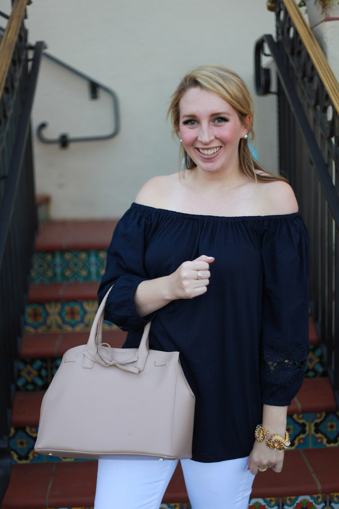 Embroidered-Sleeve Off-the-Shoulder Blouse