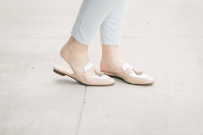 J.Crew Charlie Mules in Colorblock Leather Pampered Pink