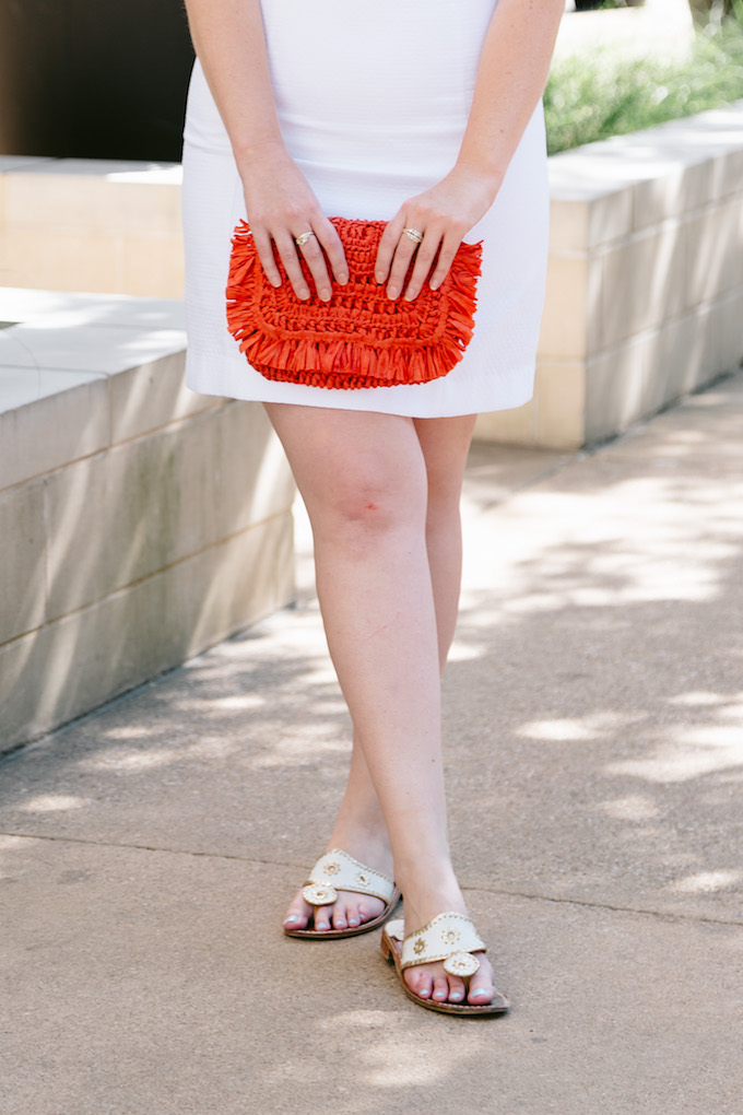 LOFT Orange Straw Clutch with White and Gold Jack Roger Sandals